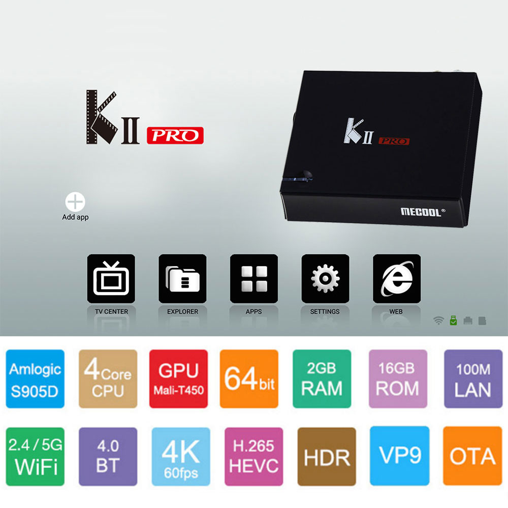 Satxtrem KII Pro DVB-T2&S2 DVB-C Android 7.1 TV Box Amlogic S905D Quad-core BT4.0 2GB/16GB 2.4G/5G Wifi 4K Set Top Box Mini PC