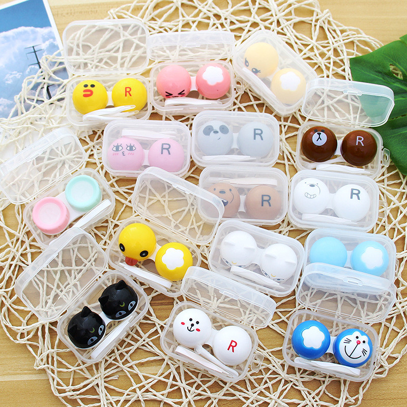 Hot Sale Cute Cartoon Contact Lens Holder Case Multi Color Eye Contact Lens Tweezer Container Kit Colored Eye Contact Lenses Box
