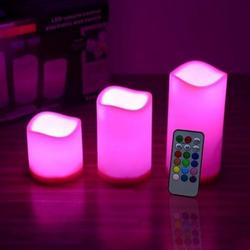 Popular Romantic Changing Color LED Light Candles Remote Control Flameless Wax Candles 3Pcs/set Holiday Party Celebration