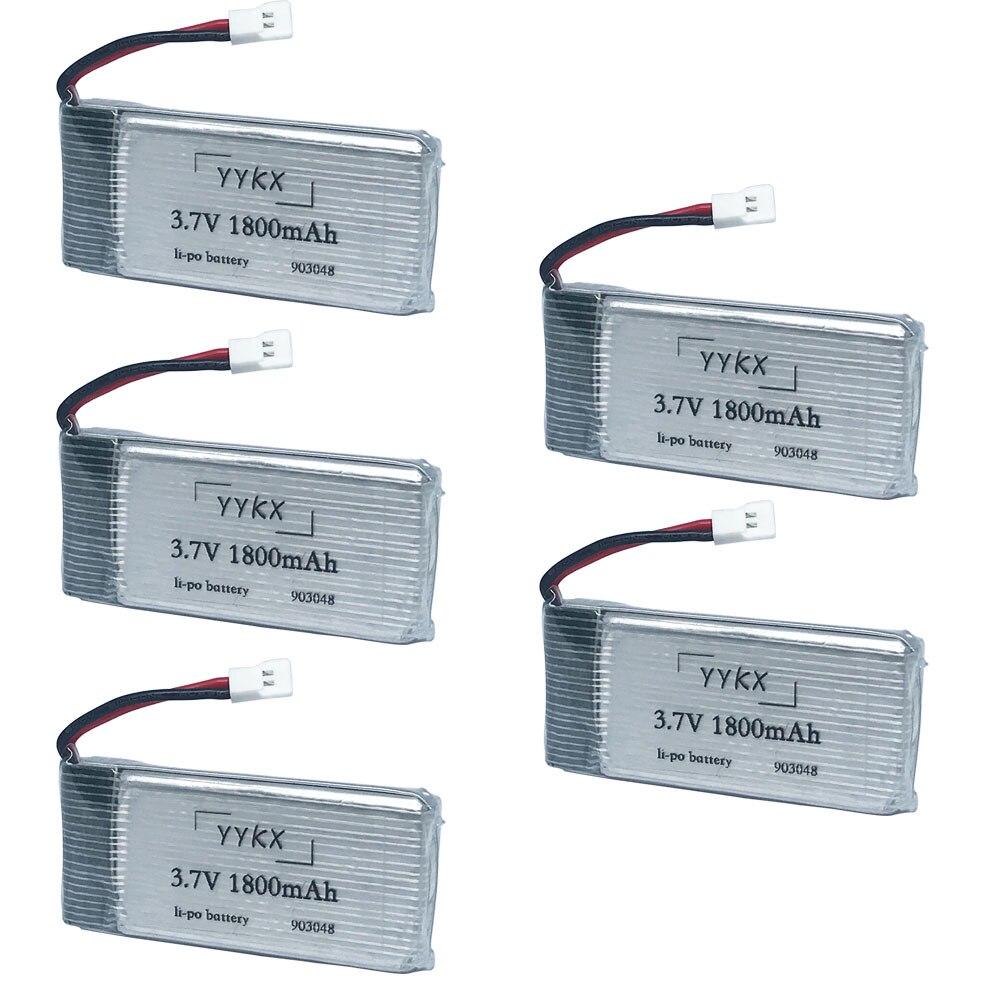 Original 3.7V 1800mAh Lithium Battery RC Quadcopter Toy Accessories KY601S Fat Battery Accessories 3.7 V 1800 Mah 5pcs/4pcs/3pcs