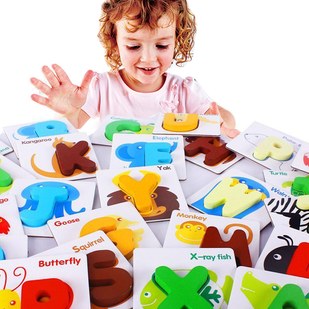 Learning Education Wooden Toys Children's Puzzle Wooden Puzzle English Alphabet Number Cards Baby Learning Animal Kids Toy Gifts