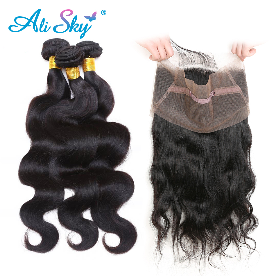 Aspiring Ali Sky Peruvian Hair Body Wave 3 Bundles With 360 Lace Frontal Closure Pre Plucked With Baby Hair Non Remy 100% Human Hair Hair Extensions & Wigs Human Hair Weaves