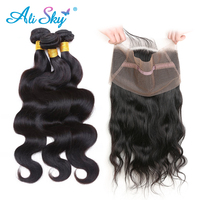 Ali Sky Peruvian Hair Body Wave 3 Bundles With 360 Lace Frontal Closure Pre Plucked With Baby Hair Non Remy 100% Human Hair