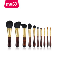 MSQ Pro 10pcs Makeup Brush Set With Goat Animal Hair Copper Ferrule And Elm Wood Handle