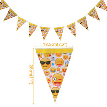 1set Emoji Disposable Tableware Banner Sign Flags Happy Birthday Party Decorations Supplies Easter Baby shower Activity goods 1set emoji disposable tableware banner sign flags happy birthday party decorations supplies easter baby shower activity goods