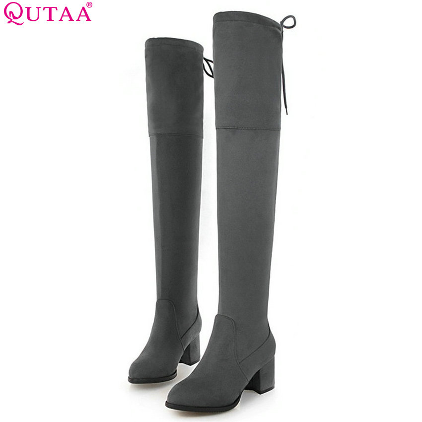 QUTAA 2019 Women Over The Knee High Boots Square High Heel Platform Flock Winter Shoes Women Motorcycle Boots Big Size 34-43 2016 fashion gray flock winter long boots elegant women shoes square low heel over the knee boots women boot size 34 43 concise page 4