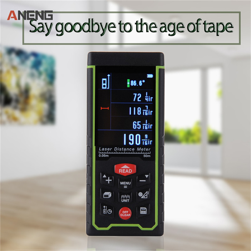 Digital 50mLaser Rangefinder LCD Display Chargeabel Laser Range Finder Distance Meter Color Display Laser Distance Meter crimping tools copper nose terminal crimping wire cable for 10 3 awg 6 25mm2 for 20a to 80a terminals