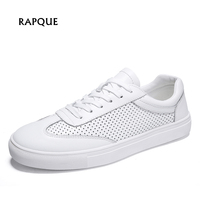 Men vulcanized shoes men's vulcanity shoes casual sneakers leather holes mesh breathable male walking driving shoes 37 46 RAPQUE