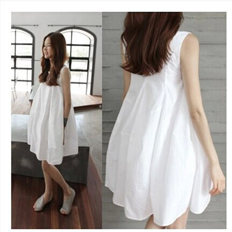 Cotton Maternity Dresses Fashion Summer European And American Sleeveless Top Loose Clothes O-Neck White Dress For Pregnant Woman