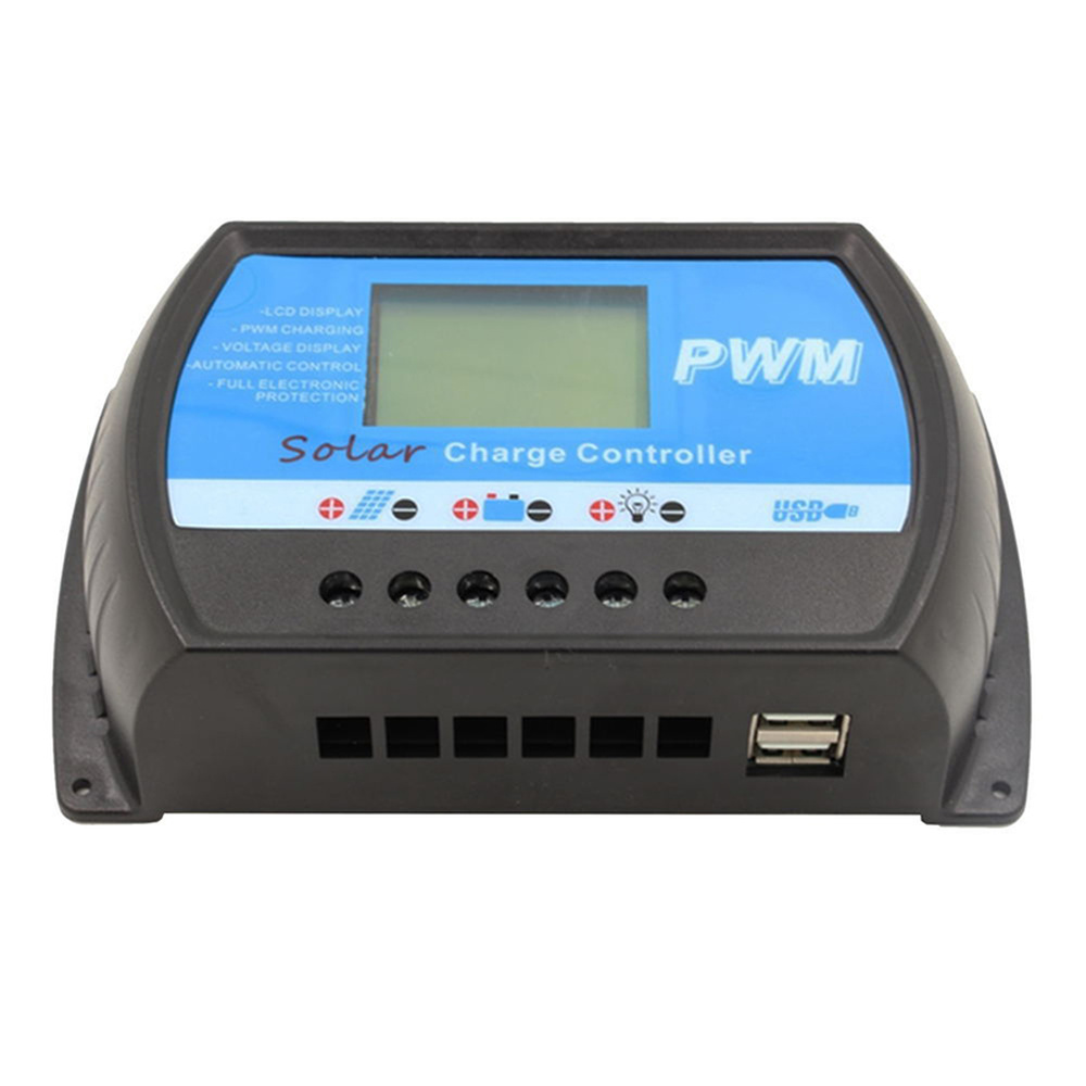 PWM 10A 20A 30A 40A Solar Charge Controller 12V 24V Auto LCD Display Solar Regulator RTD for Max 50V Panel Input USB 5V