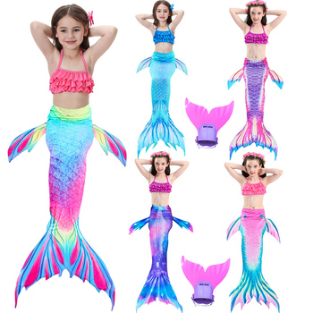4PCS Little Mermaid Tails with Monofin for Swimming Kids Princess Ariel Children Mermaid Tail Girls Cosplay Costume Swimsuit