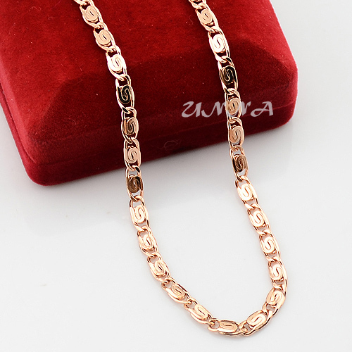 4 5mm Mens Womens Rose Gold Color Filled Link Chain
