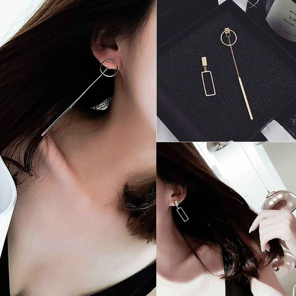 Hot 1 Pair Unique Asymmetric Drop Earrings Alloy Geometry Design Earrings Simple Elegant Fashion Jewelry Female Gift New Arrival