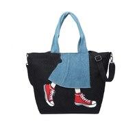 Fashion Canvas Women Shoulder Bag Denim Patchwork Handbags Ladies Crossbody Bags Beauty Jeans And Shoes