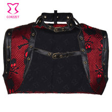 Plus Size Red Satin with Black Skull Pattern Leather Trimmed Sleeveless Vest Jacket Gothic Clothing Steampunk
