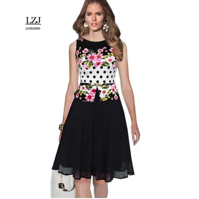 LZJ new Plus size Summer Floral Leisure Fashion Elegant Print Charming Women  O-Neck Sleeveless Mesh Work Office Dress vestidos 3766b17b9ac2