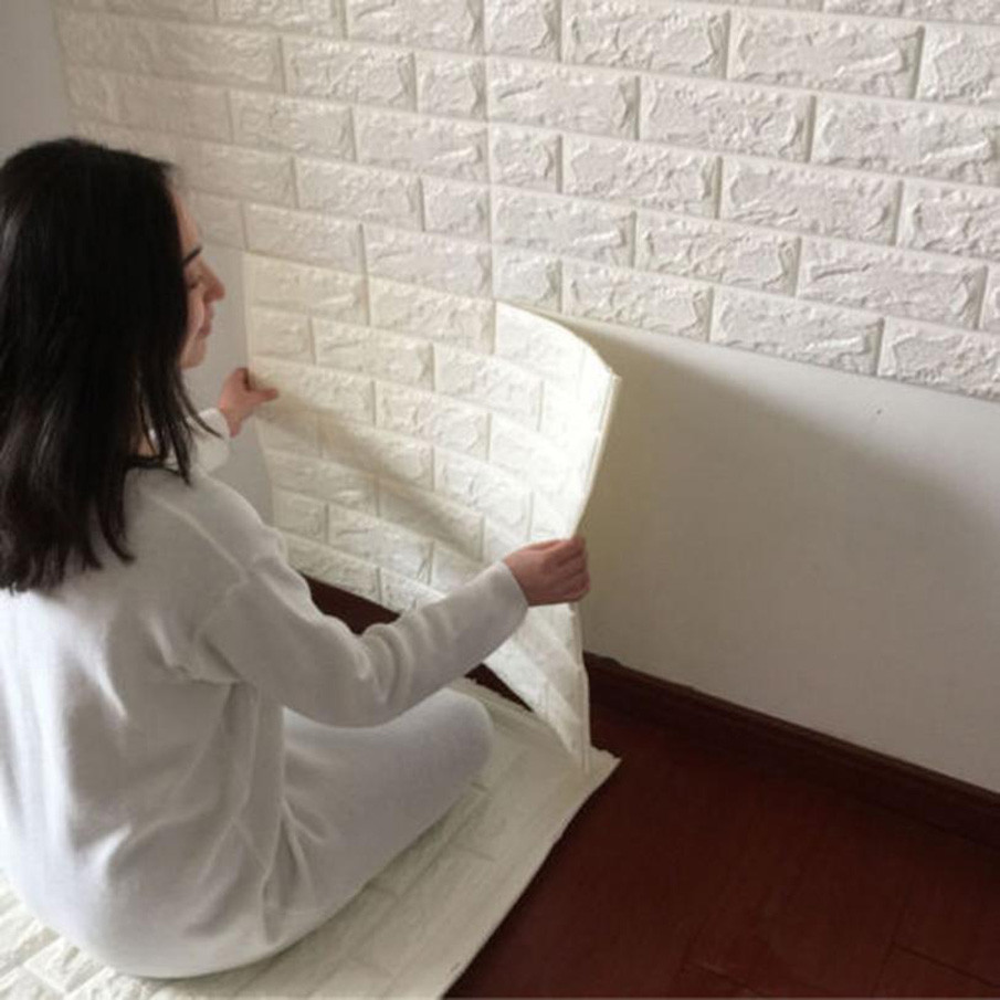 60x60cm PE Foam 3D Wall Stickers Safty Home Decor Wallpaper DIY Wall Decor Brick Living Room Kids Bedroom Decorative Improvement