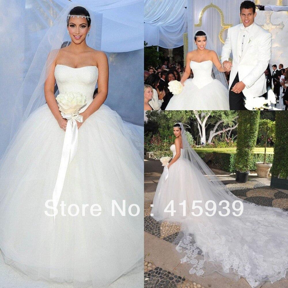 Top charming kim kardashian cathedral Train Ball Gown Wedding ...
