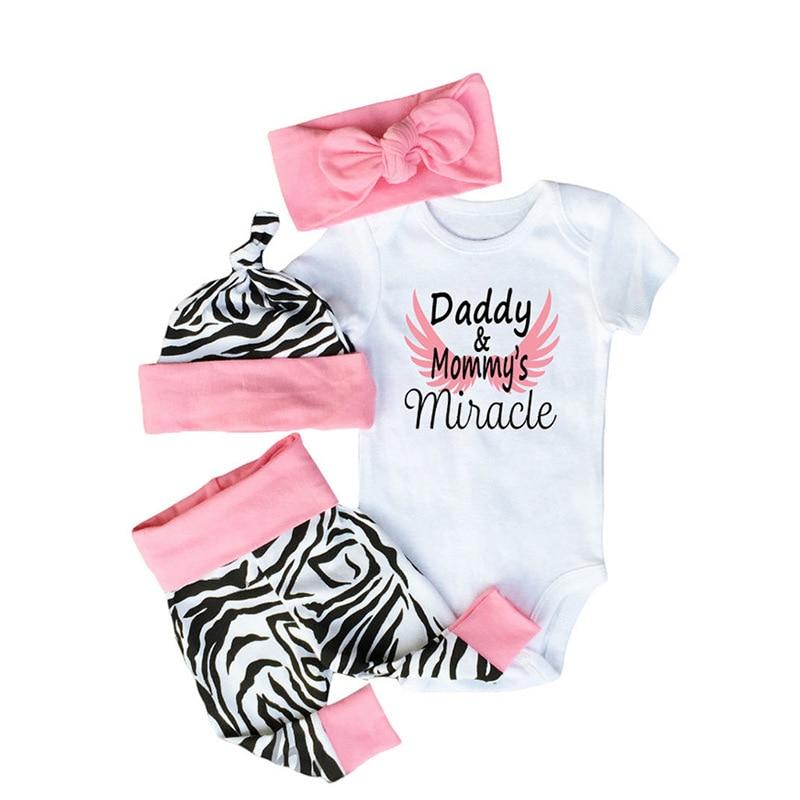 Bebê recém-nascido meninas roupas papai & monmy milagre bodysuit + calças zebra chapéu + bandana 4 pçs define infantil bebe meninas outfit