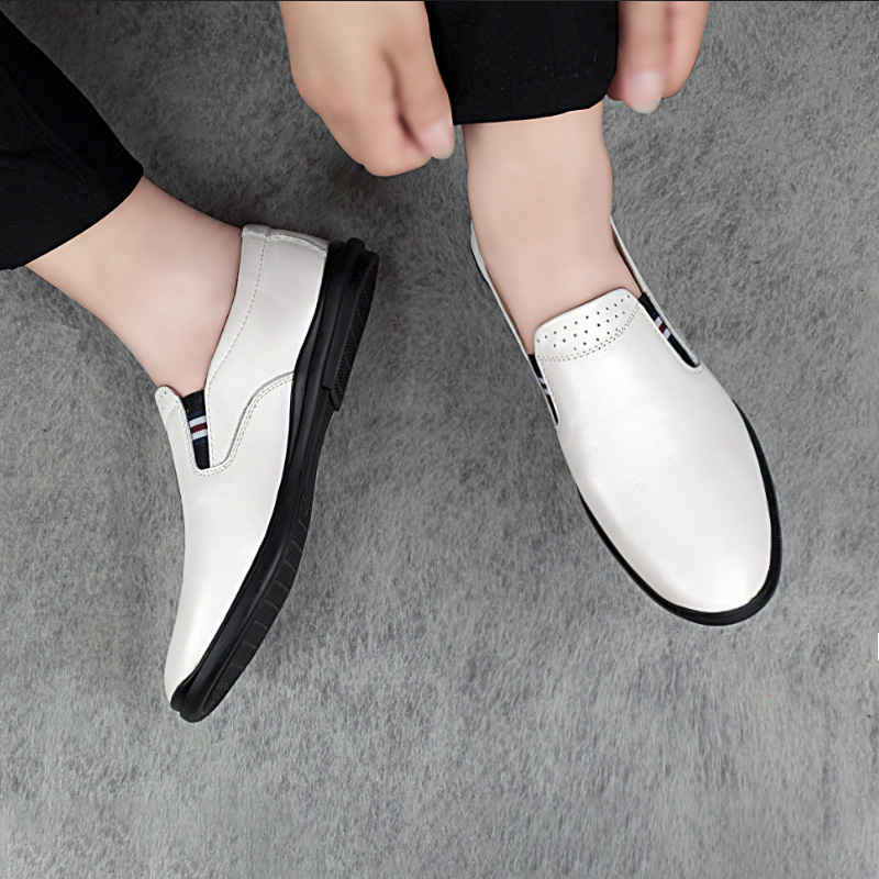 2019 men 39 s shoes casual genuine leather loafers male classic white black slip on shoe man flats driving shoes for men size 37 46 in Men 39 s Casual Shoes from Shoes