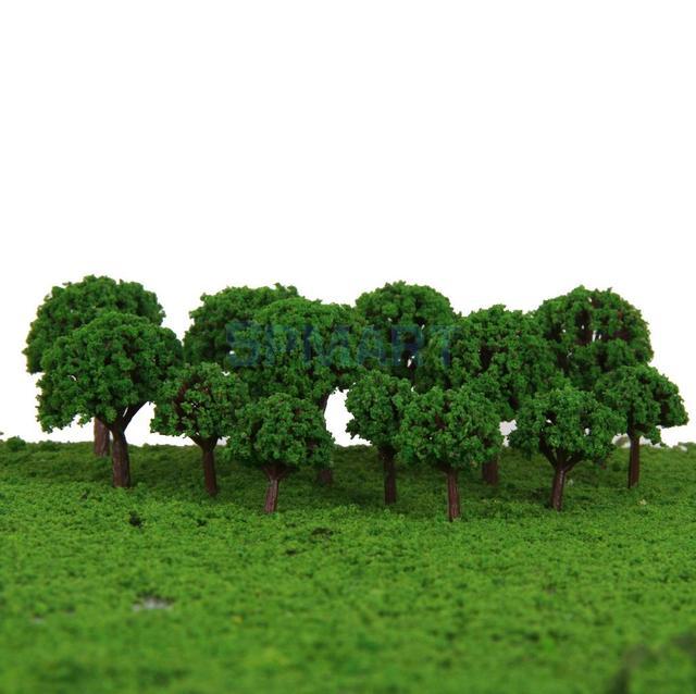 50 pcs 3 cm Qualidade Cenário Paisagem Trem do Modelo Escala Árvores Cena Layout Ferrovia Ferroviárias Wargame-cor verde 1/500