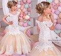 Árabe Sereia Laço Vestidos Da Menina de Flor para Casamentos Champagne Tulle Comunhão Santamente Vestidos Da Menina Do Bebê Crianças vestido de Baile Vestido Pageant