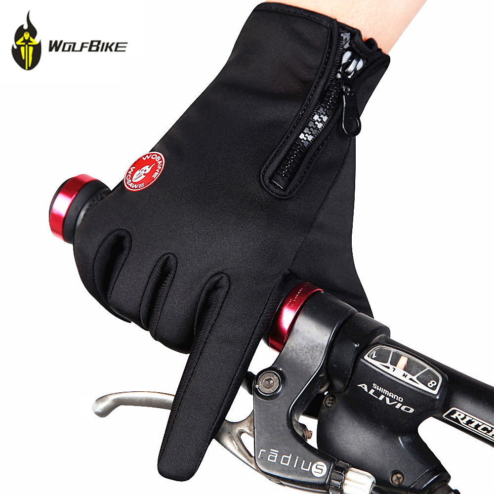 WOLFBIKE Windstopper Bicycle Bike Cycling Gloves Fleece Thermal Touch Screen Full Finger Gloves Skiing Motorcycle Riding Gloves