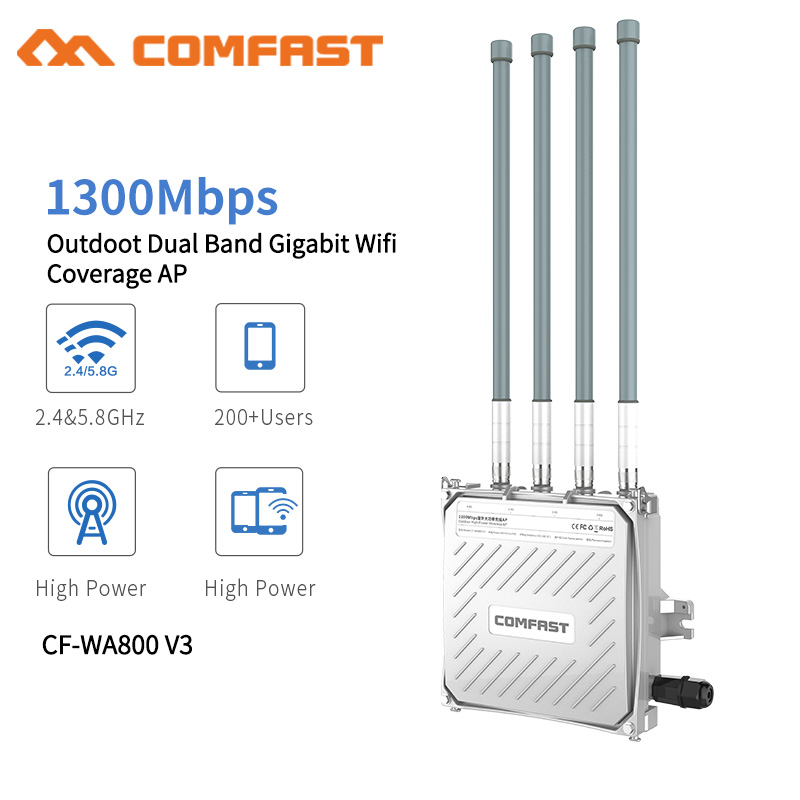 Comfast 1300Mbps Dual Band 5.8G Outdoor AP 4*8dBi Antenna WiFi Cover Base Station Router WiFi Signal Hotspot Amplifier RepeaterComfast 1300Mbps Dual Band 5.8G Outdoor AP 4*8dBi Antenna WiFi Cover Base Station Router WiFi Signal Hotspot Amplifier Repeater