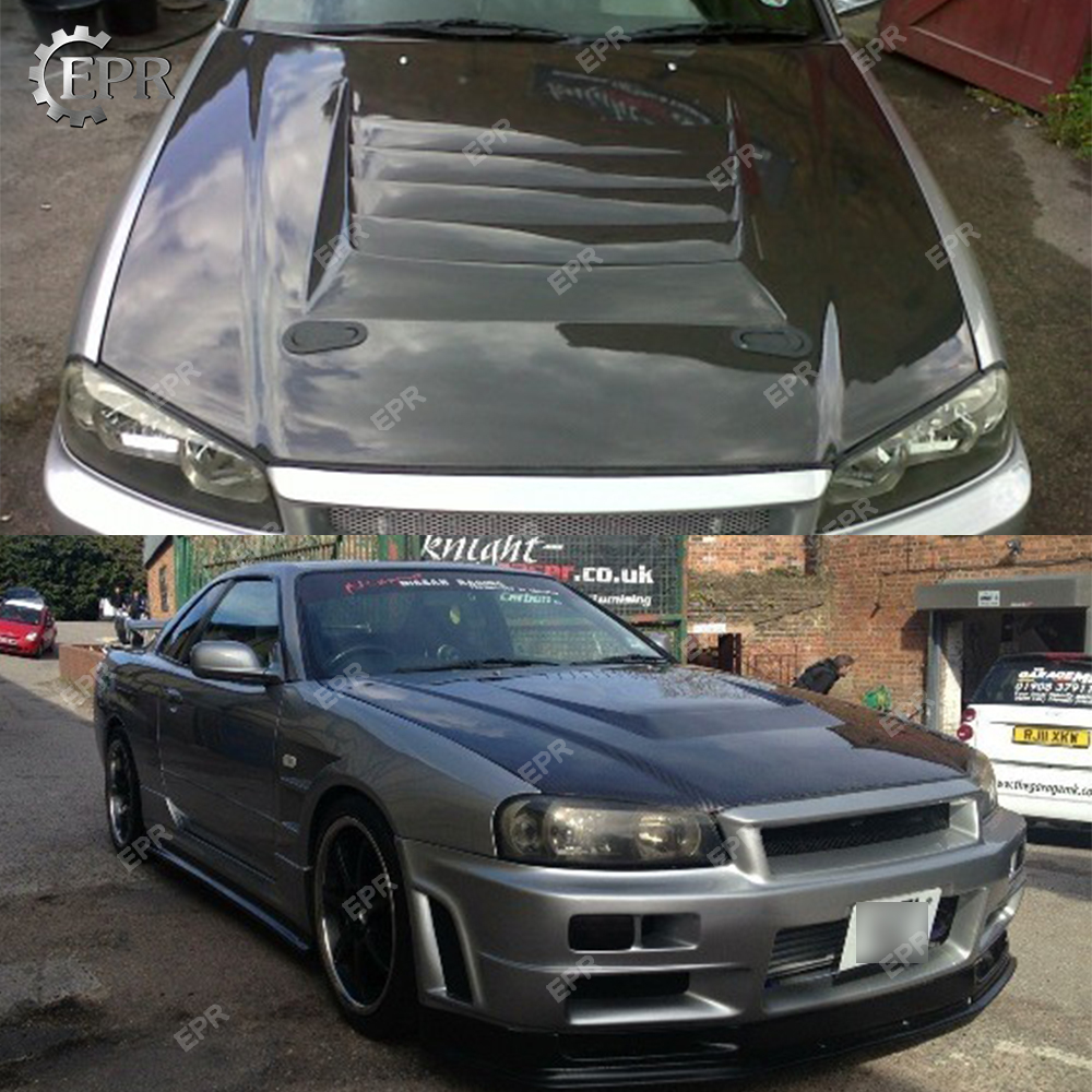 US $629 1 10% OFF|For Nissan Skyline R34 GTR Carbon Fiber Hood Body Auto  Kit Tuning Part For Skyline GTR R34 Carbon Nismo Hood-in Body Kits from