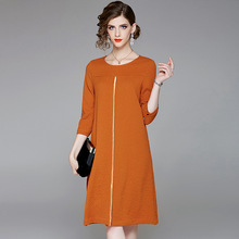 Three quarter sleeve loose a line dress 2018 new office lady women autumn