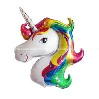 5 adet/grup 88*118 cm Gökkuşağı Boynuzlu Atlar Balonlar Doğum Günü Partisi Karikatür Hayvan Helyum Şamandıra Topu Parti Süslemeleri Çocuklar oyuncaklar
