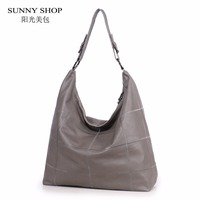 SUNNY SHOP LUXURY 100 Genuine Leather Women Bag Large Handbags And Purse Soft Plaid Travel Bag