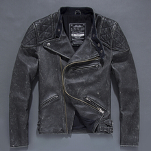 Free Shipping Plus Size Vintage Man Genuine Cow Leather Jackets Skull Design Retro Man Genuine Leather Coat On Sale ! cheap Leather Suede Turn-down Collar Short COTTON STANDARD Full Slim Zippers Pockets DAYDAYFASHION NONE Solid Casual