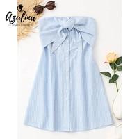 AZULINA Stripes Bowknot Tube Mini Dress Strapless Sleeveless Cotton Dress Girls Clothes Summer Beach Casual Sundress