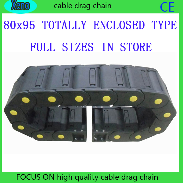 Free Shipping 80x95 1 Meter Totally Enclosed Type Plastic Cable Drag Chain Wire Carrier With End Connects For CNC Machine plastic rod spring wobble stick type momentary enclosed limit switch