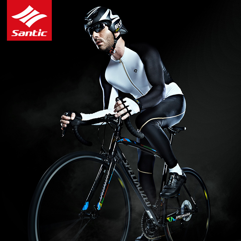 Santic High Quality Men Cycling Jerseys Extreme Fit MTB Road Bike Long Sleeve Riding Jersey Polyester Outdoor Bicycle Clothing nuckily nj513 cycling polyester short sleeve riding jersey for men black white size l