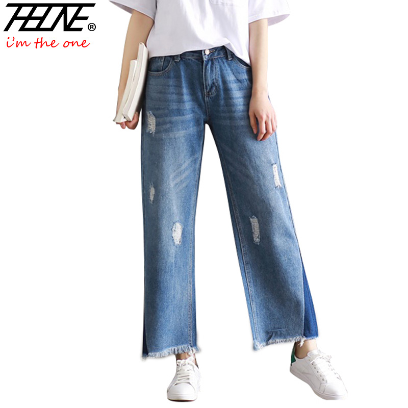 THHONE Designer Džínové kalhoty Džíny Dámské kalhoty Loose Slim Plus Velikost Široké nohavice Kalhoty Vintage Střih Ripped Flare Džíny Žena