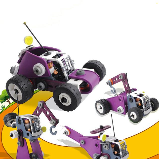 91 pcs diy bloco de construção de montagem de veículos para crianças brinquedo educativo presente de aniversário natal ano novo em caixa de cor original
