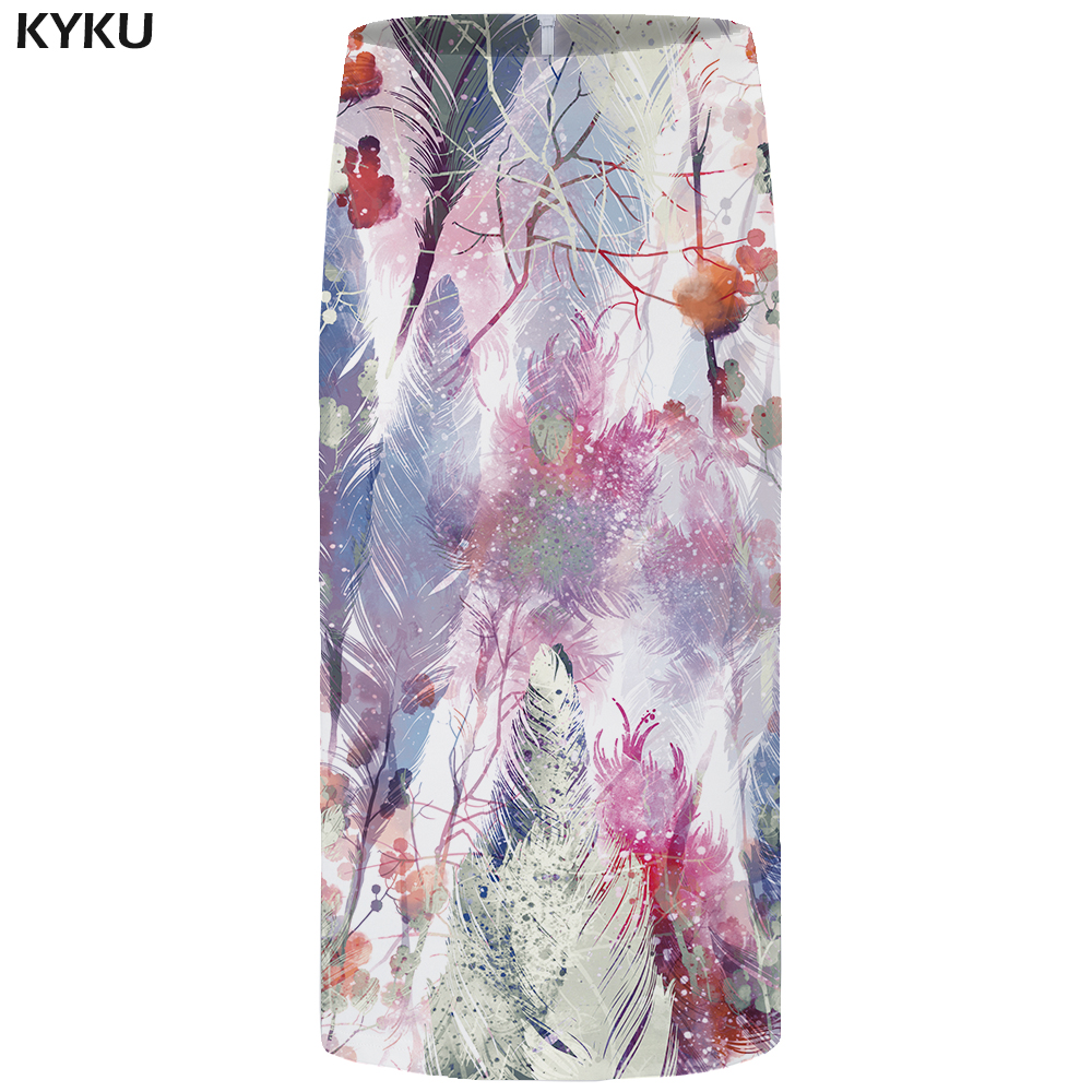 KYKU Forest Skirts Women White Pencil Feather Floral Colorful 3d Print Skirt Casual Sexy Ladies Skirts Womens Vintage Korean