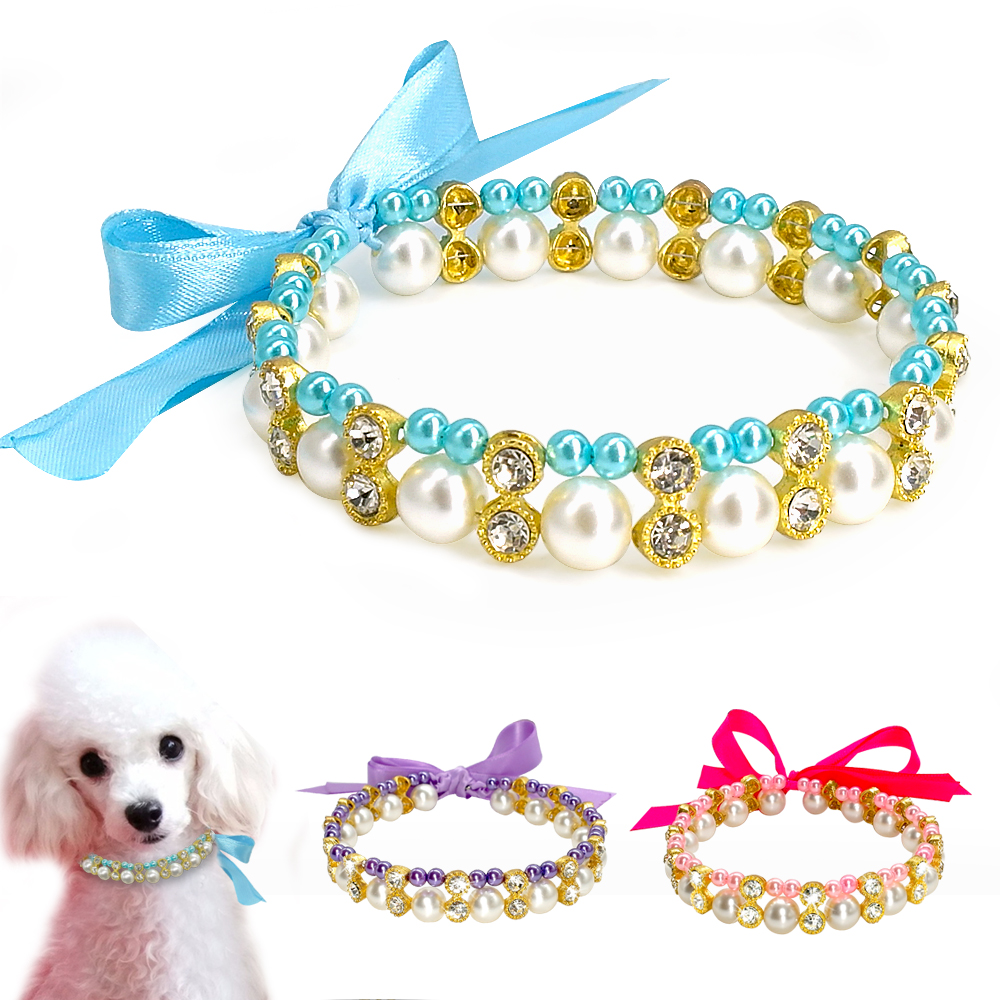 Crystal Pearl Dog Necklace Collar Bowknot Puppy Cat Jewelry Dog Accessories Elastic font b Pet b