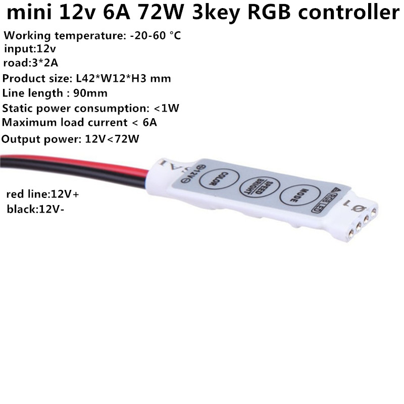 1PCS Mini 12V LED Strip Light Dimmer Controller with On Off Switch for 3528 5050