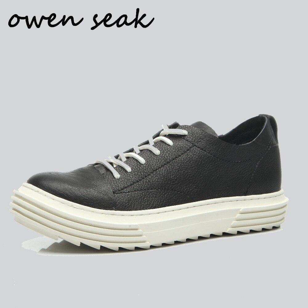 Hommes De Véritable Bottes Up Formateurs Owen Marque Luxe Lace Noir Chaussures En Sneaker Appartements 2018 Cuir Casual Seak Noir Printemps rouge Base mny0NOwvP8