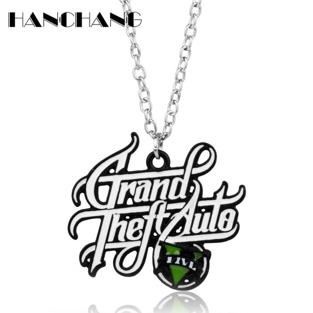 ps4 xbox pc rockstar game gta v grand theft auto 5 necklace chain Auto 5 GTA Games Online ps4 xbox pc rockstar game gta v grand theft auto 5 necklace chain pendant necklaces collier