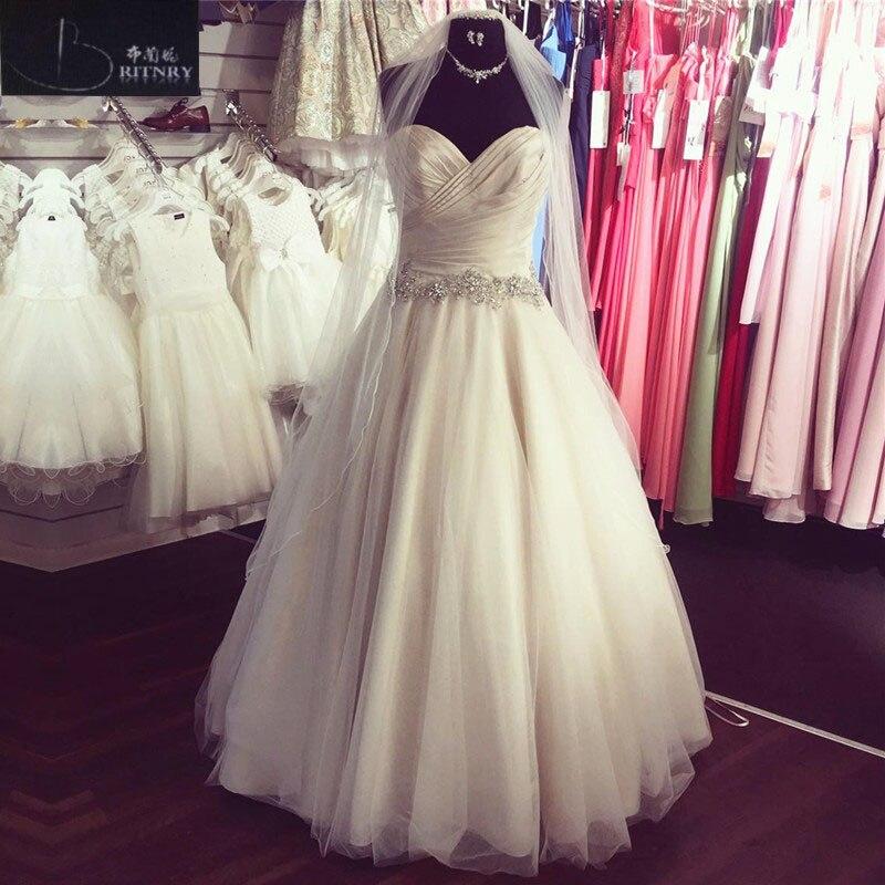 BRITNRY Elegant Sweetheart Wedding Dress 2018 A-line Bridal Dress with Beaded Belt Lace Up Back Tulle Simple Wedding Dress