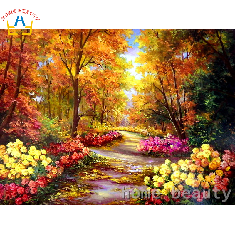 Diy Oil Painting By Numbers Landscape Wall Decor Canvas Brush Painting Paint Coloring By Number Flowers