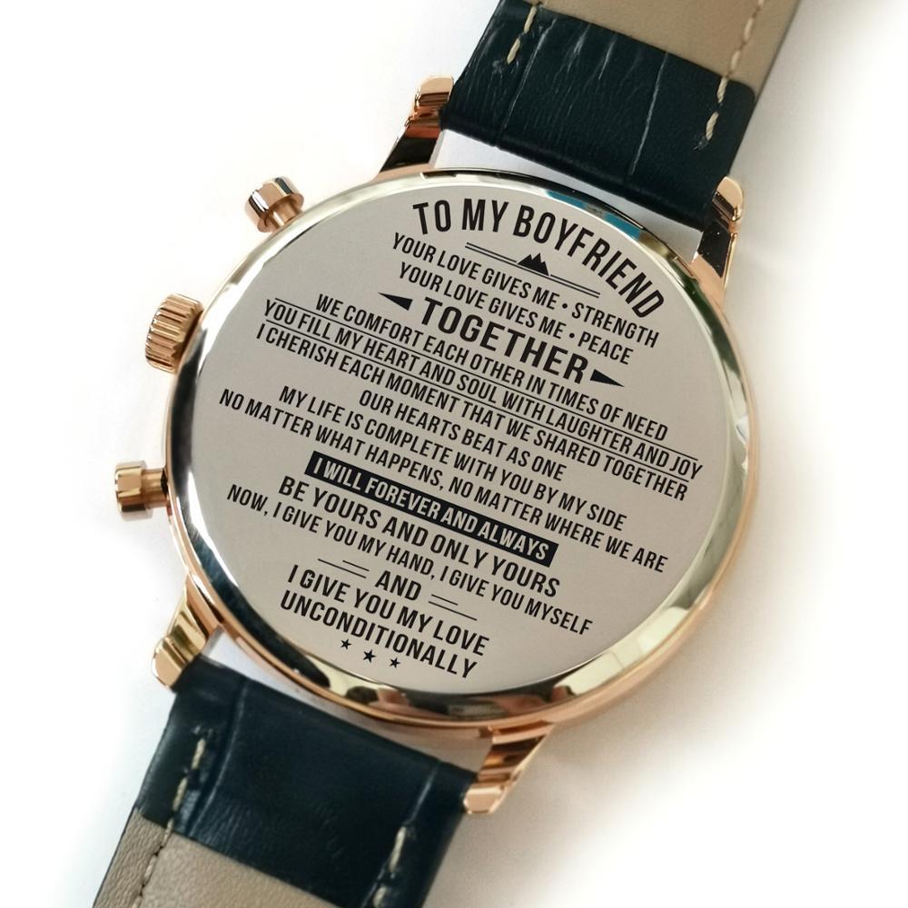 K4700-1 To My Boyfriend Luxury Waterproof Engraved Watches Sport Men Wrist Wathes Military Birthday Anniversary Gifts