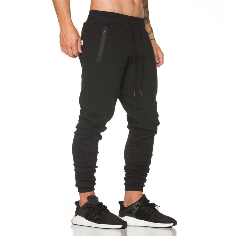 2019 New Bodyboulding Mens Pants Gyms Zipper packet Pants Brand Clothing Cotton Embroidery Trousers Fitness Jogger Sweatpants