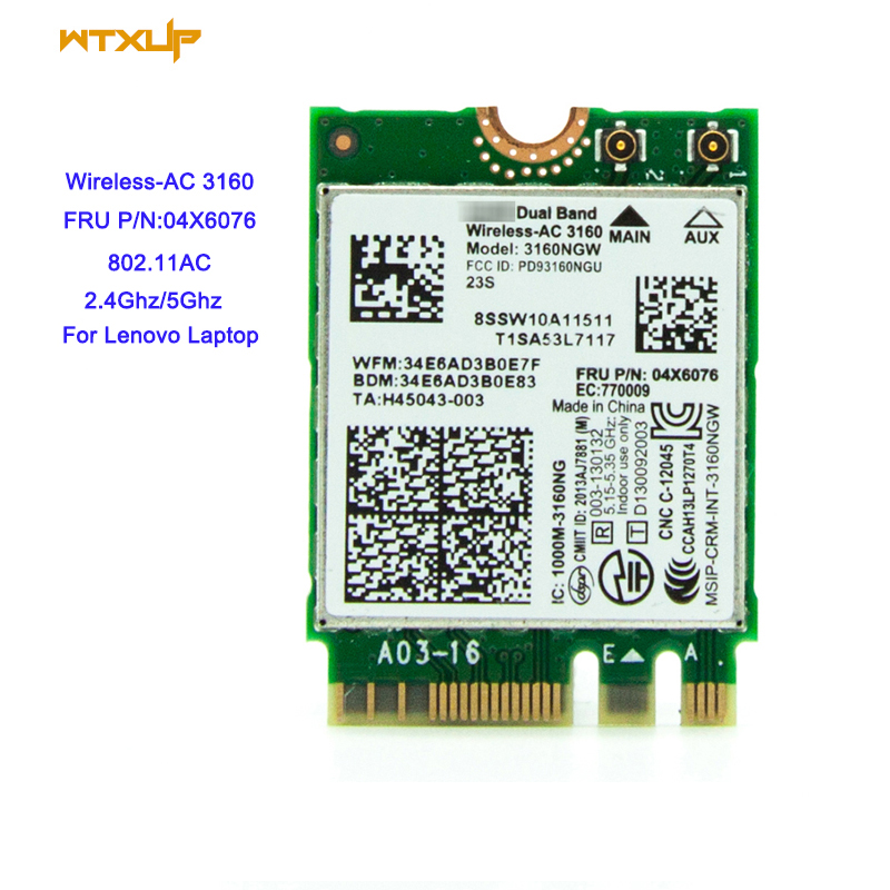 Intel Dual Band Wireless AC 7260 WiFi+BT 4 0 Combo card For