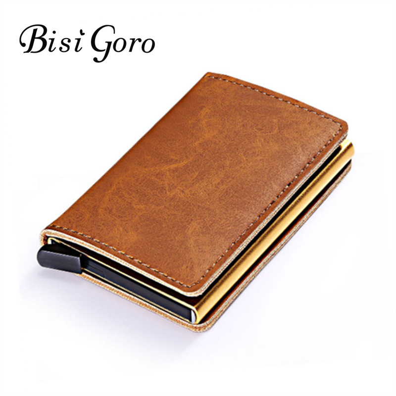 все цены на BISI GORO 2018 Metal ID Credit Card Holder With RFID Vintage Card Case Automatic Money Cash Clip Mini Wallet Business Card Case онлайн