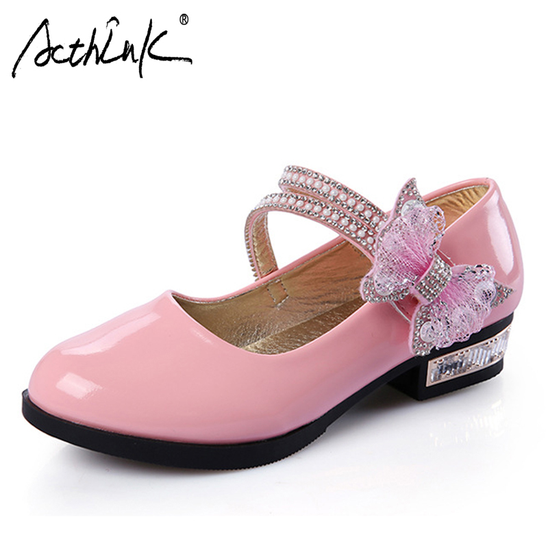 ActhInK New Princess Girls Dancing Shoes with Bowtie Kids Breathable Leather Shoes Girls Performance&Weeding Shoes with Sequins